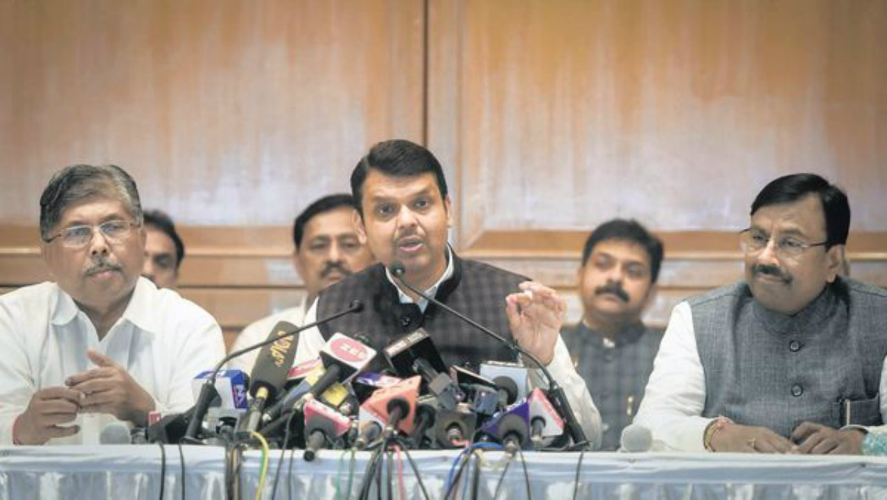 Devendra Fadnavis addressing the press after resigning as the Chief Minister of Maharashtra. (Image: PTI)