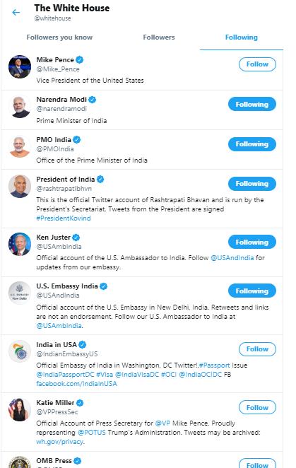 The White House follows PM Modi